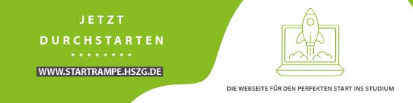 banner in grün und weiß, Icon einer Rakete und eines Computer abgebildet. Schriftzug: Jetzt durchstarten. Hinweis auf Webseite www.startrampe.hszg.de
