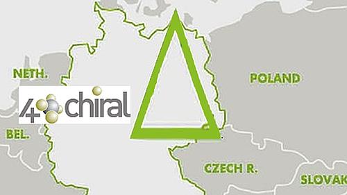 Grafische Übersicht des Netzwerkes und das Logo von 4chiral