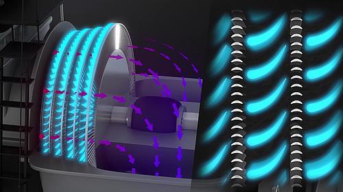 Ausschnitt aus dem Animationsfilm zur Funktionsweise von Dampfturbinen