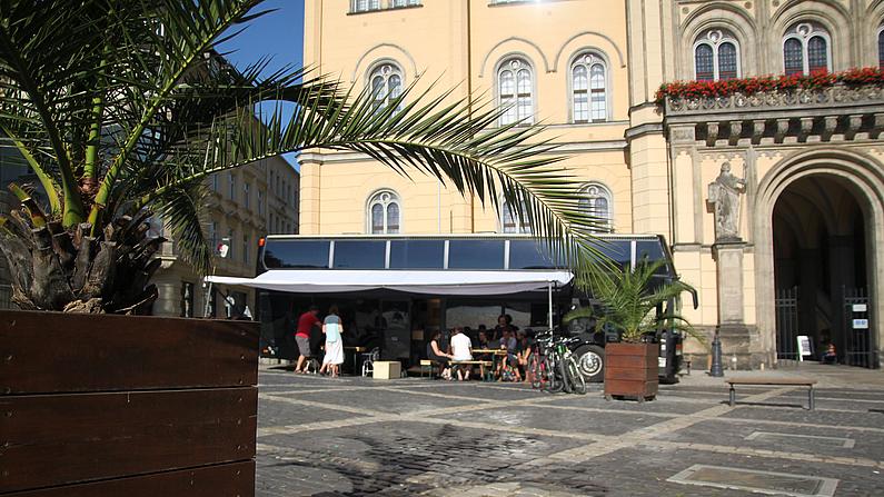 Das Fabmobil vor dem Zittauer Rathaus. Im Vordergrund eine Palme.