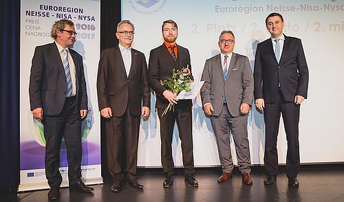 v. l.: Prof. Albrecht, Prof. Hassa, Stefan Strehler, Prezydent Miasta Boleslawiec Piotr Roman, Hejtman Martin Puta