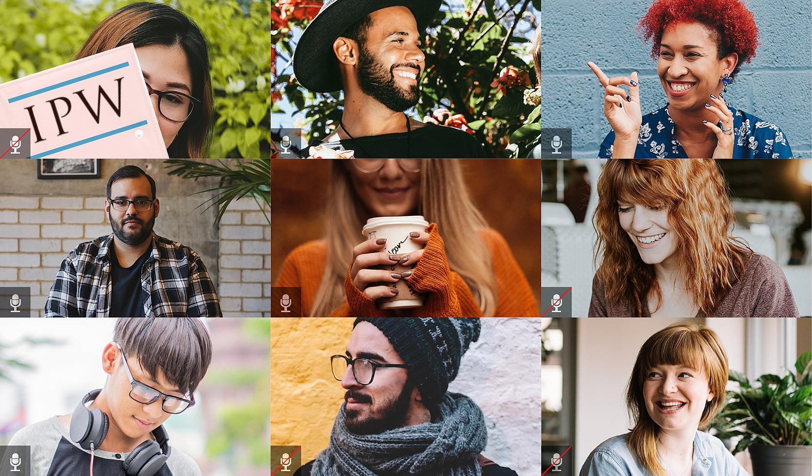Neun verschiedene Personen im Online-Meeting