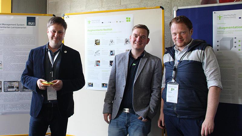 Daniel Winkler, Thomas Müller und Ronny Freudenreich zur Postersession der Tagung