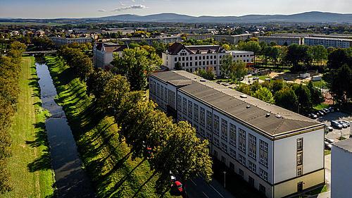 Fakultät W von oben (Drohnenbild)