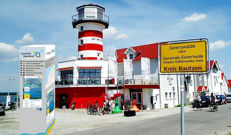 Informations-Säulen sollen künftig Besucher des Lausitzer Seelandes innerhalb der Ortschaften zu verschiedenen Sehenswürdigkeiten und Freizeiteinrichtungen lenken