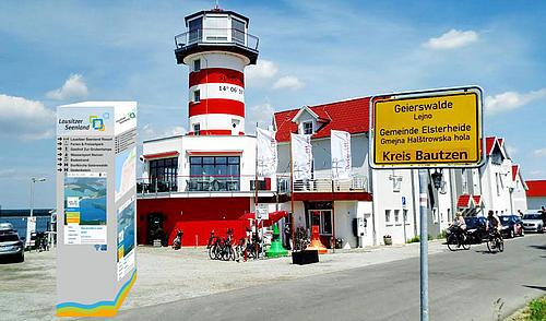 Informations-Säulen sollen künftig Besucher des Lausitzer Seelandes innerhalb der Ortschaften zu verschiedenen Sehenswürdigkeiten und Freizeiteinrichtungen lenken.
