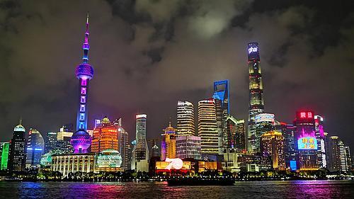 Skyline-Aufnahme von Shanghai bei Nacht