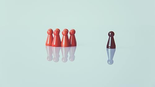 Spielfigurengruppe, mit einer im Abseits