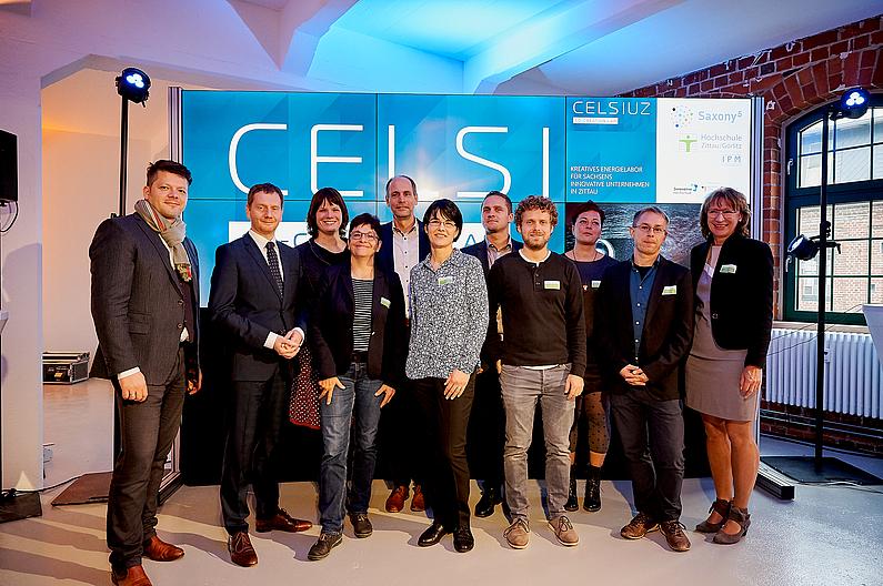 ...ergänzt um das CELSIUZ-Team bestehend aus (v.l.n.r.) Kristin Sprechert, Prof. Tobias Zschunke, Dr. Clemens Schneider, Martin Kunack Mareike Schneider, Andreas Schulz, Sabine Scholz