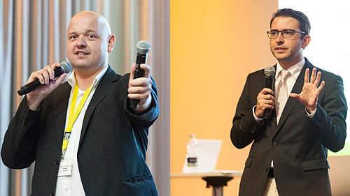 Prof. Dr. Matthias Schmidt (l.) und Prof. Dr. habil. Carsten Schermully (r.) hielten die Kenynote-Rede zum Thema Digitalisierung