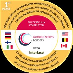 Working Across Borders Badge – erhielten alle Studierenden, die erfolgreich am Internationalen Interkulturellen Projekt teilgenommen haben (mit Nennung aller am Projekt beteiligten Partnerhochschulen)