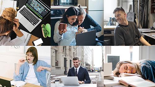 Collage von mehreren Studierenden, die ihrer Onlineseminare nachgehen.