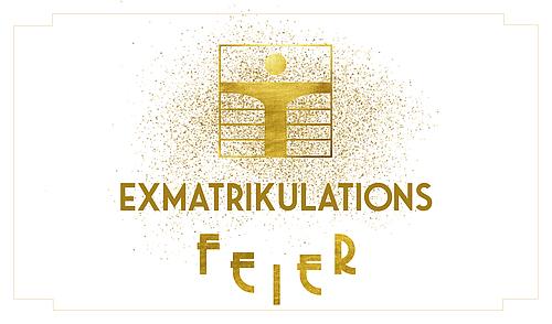 Golderner Schriftzug auf weißem Hintergrund: Exmatrikulationsfeier 2020