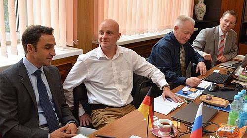 Prof. Tino Schütte, Prof. Uwe Schmidt, Prof. Wolfgang Kästner, Prof. Stefan Kornhuber  zu Besuch am Moskauer Energetischen Institut