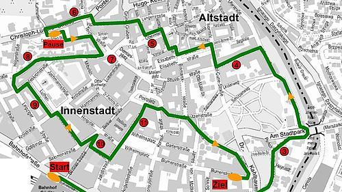 Stadtplan von Görlitz mit eingezeichneter Streckenführung des autofreien Sonntages