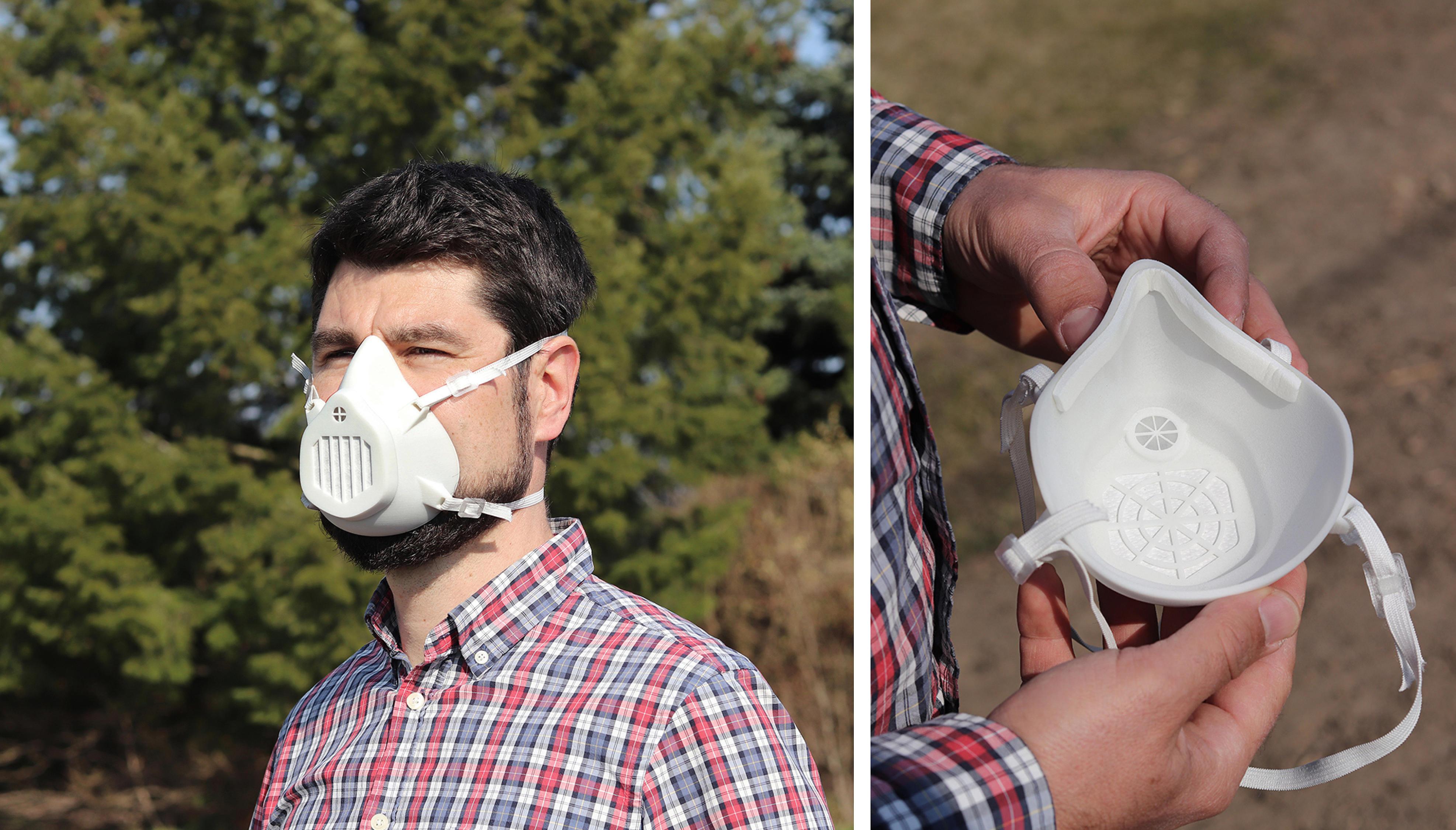 Sebastian Scholz trägt eine Atemschutzmaske. Rechts: Atemschutzmaske in Scholzes Händen im Detail abgebildet.